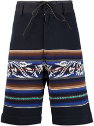 Sacai Striped Shorts Blue