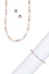 6 7Mm Multicolor Freshwater Pearl Necklace Bracelet And Earrings Set Pink