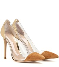 Gianvito Rossi Plexi 70 Metallic Leather Suede And Transparent Pumps Brown