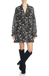 1.State Women's Floral Print Tie Neck Shift Dress