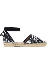 Maje Leather Trimmed Canvas Espadrilles White