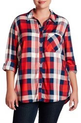 Como Vintage Plaid Woven Shirt Plus Size Red