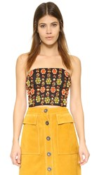 Alice Olivia Saraphina Cropped Bustier Black Multi