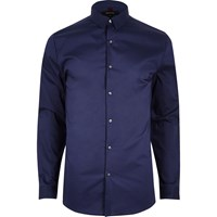 River Island Mens Navy Blue Formal Muscle Fit Shirt