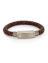Saks Fifth Avenue 0.02 Tcw Diamond Stainless Steel And Leather Cord Bracelet Brown