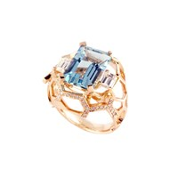 Guy And Max Aquamarine And Diamond Cocktail Ring White Blue Rose Gold