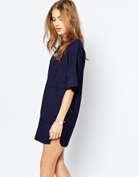 Asos Tunic Dress In Linen Look With Stitch Detail Navy