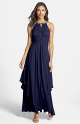 Women's Eliza J Embellished Tiered Chiffon Halter Gown