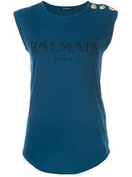 Balmain Sleeveless T Shirt Blue