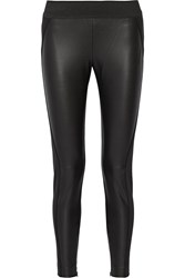 Stella Mccartney Bale Faux Leather Paneled Stretch Twill Skinny Pants Black