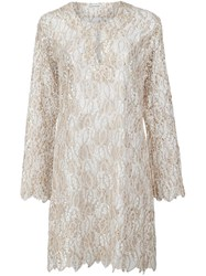 Sophie Theallet Guipure Lace Kaftan Nude And Neutrals