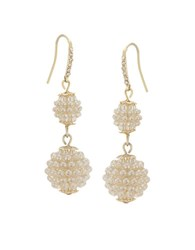Carolee Pave Pearl Disc Drop Earrings Pearl Gold