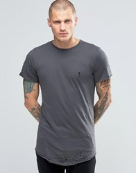 Religion Longline T Shirt With Curved Hem And Rip Detail Dark Metal Grey