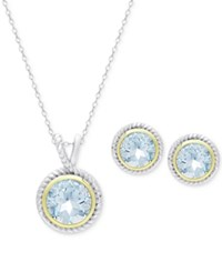 Victoria Townsend Blue Topaz Pendant Necklace And Matching Stud Earrings Set 4 1 3 Ct. T.W. In 18K Gold Plate And Sterling Silver