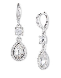 Givenchy Glass Stone Teardrop Earrings Silver