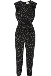 Band Of Outsiders Printed Silk Jumpsuit Black