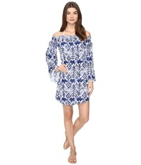 Lilly Pulitzer Nita Cover Up Bright Navy Tons Of Fun Women's Dress