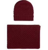 William Lockie Cable Knit Cashmere Hat And Scarf Set Burgundy