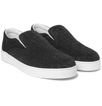 Bottega Veneta Intrecciato Suede Slip On Sneakers Charcoal