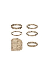 Topshop Engraved Band Ring Pack Gold
