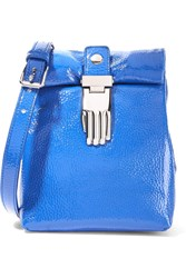 Opening Ceremony Athena Textured Patent Leather Shoulder Bag Blue