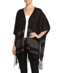 Neiman Marcus Open Front Striped Fringe Poncho Black Heath