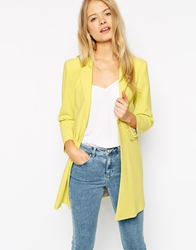 Asos Coat In Lightweight With Contrast Liner Yellow