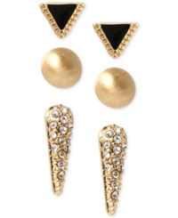 Kenneth Cole New York Gold Tone Crystal Triangle And Spike Stud Earring Set