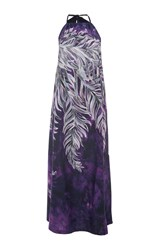 Tome Printed Cotton Halter Dress Purple