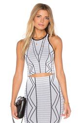Bcbgeneration Geometric Crop Top Tank White