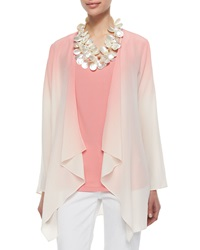 Eileen Fisher Ombre Draped Long Silk Jacket Coral