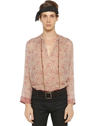 Saint Laurent Floral Printed Modal And Wool Tunic Shirt Light Pink