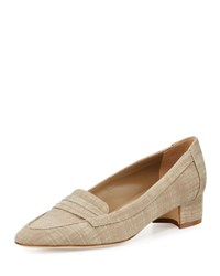 Manolo Blahnik Acono Linen 30Mm Loafer Pump Taupe