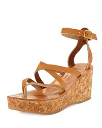 K. Jacques Odelyne Strappy Cork Wedge Sandal Natural