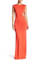 Go Couture Cap Sleeve Side Cutout Maxi Dress Red