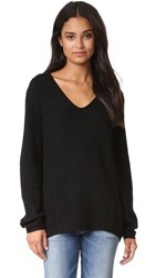Three Dots Willa Slouchy V Neck Sweater Black