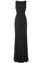 Jenny Packham Embellished Floor Length Silk Gown Black