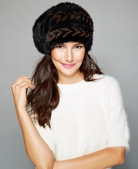 The Fur Vault Herringbone Knitted Mink Slouchy Beret Ranch Brown