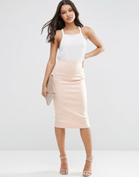 Asos Pencil Skirt In Scuba Nude Beige