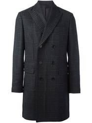 Aspesi Checked Double Breasted Coat Grey