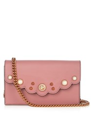 Gucci Peony Leather Cross Body Bag Pink
