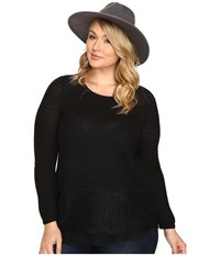Lucky Brand Plus Size Lace Mix Sweater Jet Black Women's Sweater