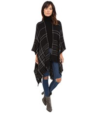 Michael Stars Plaid To See You Cape Black Women's Clothing