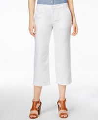 Tommy Hilfiger Cropped Straight Leg Linen Pants Snow White