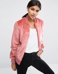 Asos Faux Fur Bomber Jacket Dusty Pink