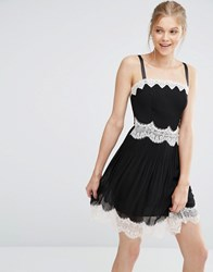 Oasis Lingerie Lace Trim Cami Dress Black