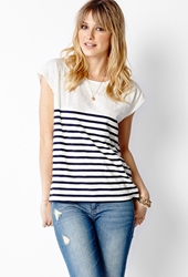 Forever 21 Nautical Knit Tee Ivory Navy