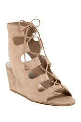 Dolce Vita Louise Lace Up Wedge Sandal Beige