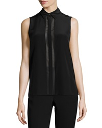 Vince Sleeveless Concealed Button Blouse Black