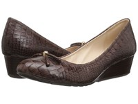 Cole Haan Tali Grand Lace Wedge 40 Chestnut Croc Print Women's Slip On Shoes Mahogany